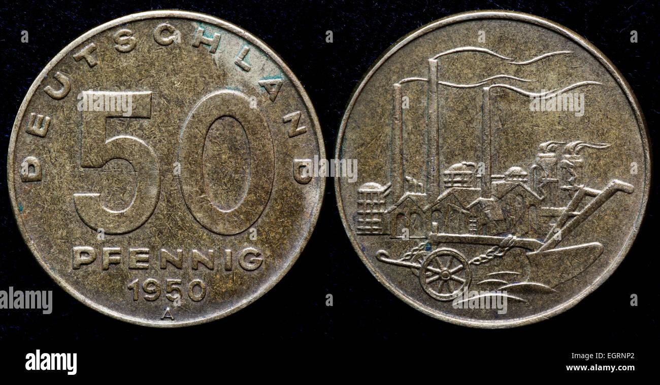 50 Pfennig Münze Deutschland Deutsche Demokratische Republik Ddr