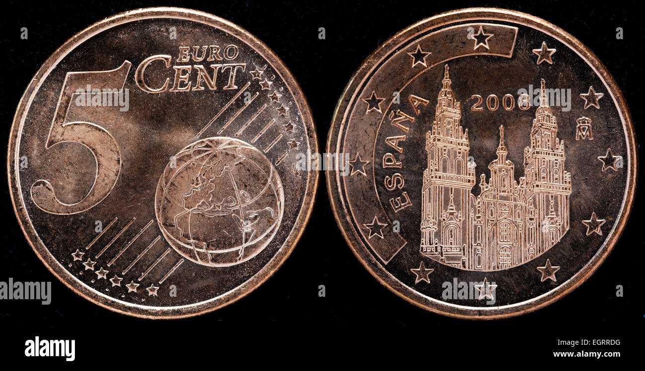 5 Euro Cent Münze Spanien 2008 Stockfoto Bild 79199276 Alamy
