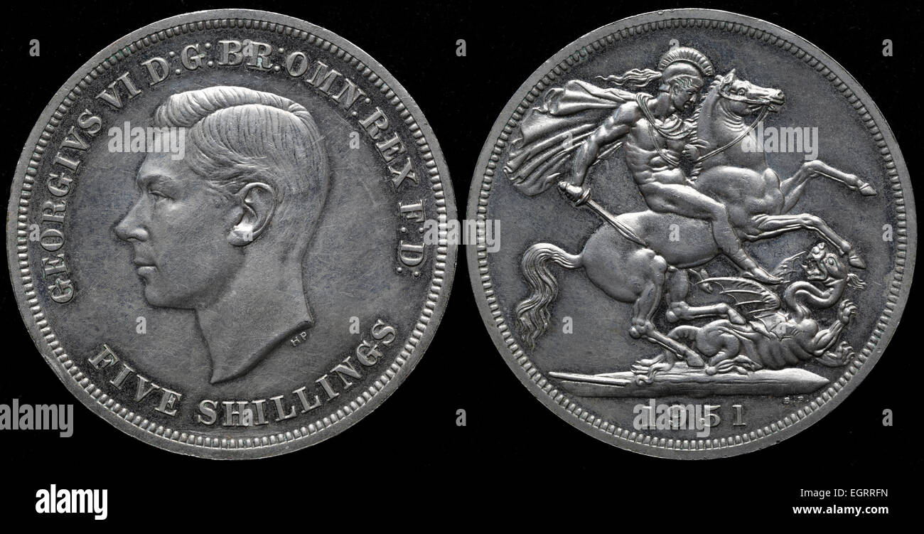 5 Schilling Münze König George Vi Uk 1951 Stockfoto Bild