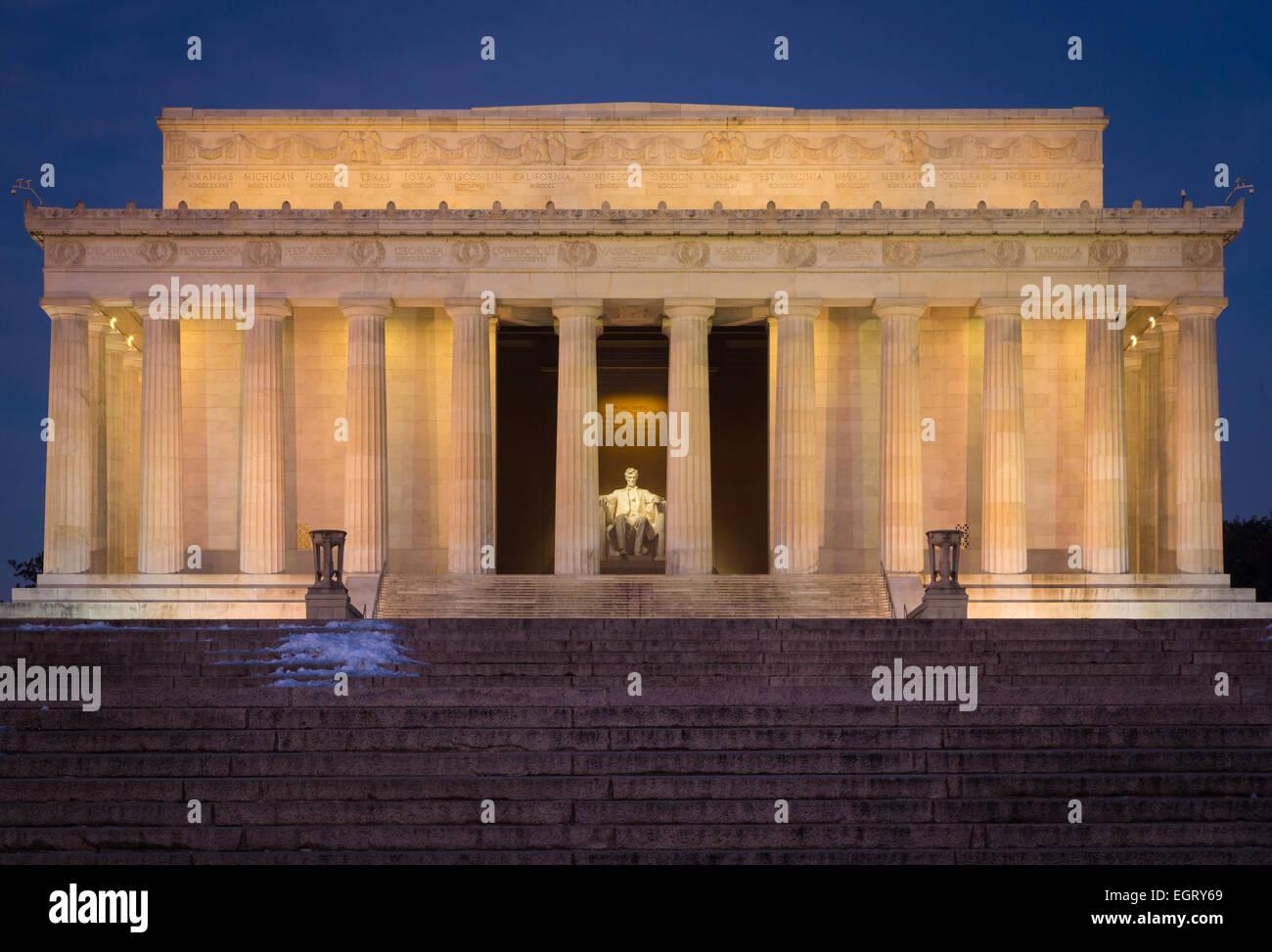 Das Lincoln Memorial ist ein American Memorial gebaut, um den 16. Präsidenten der Vereinigten Staaten, Abraham Stockbild