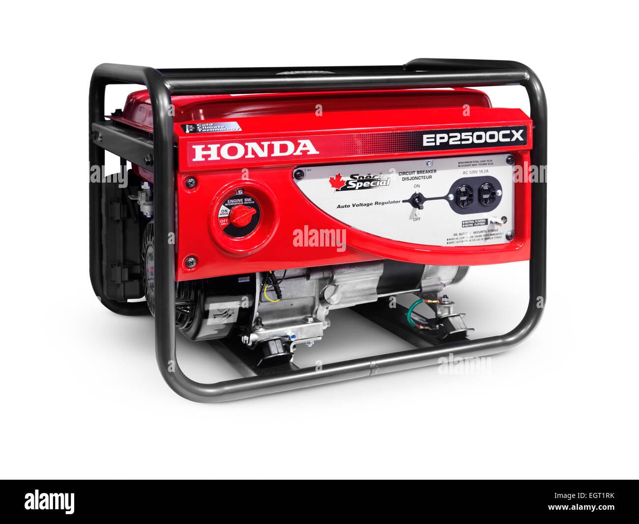 Honda EP2500 tragbarer Benzin-Generator isoliert auf weißem Hintergrund mit Beschneidungspfad Stockbild