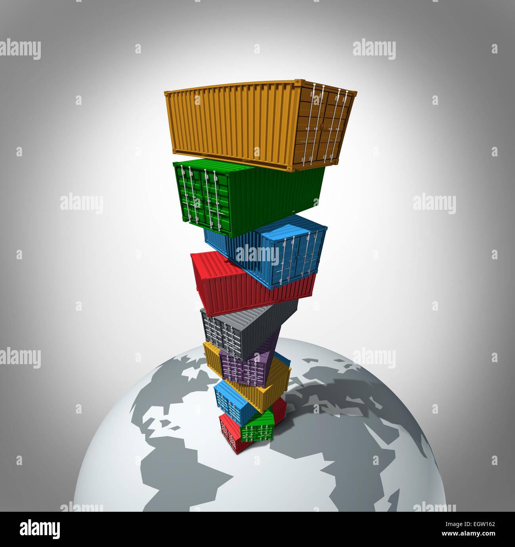 Global Cargo Transport-Konzept als hohe Stapel von Transportbehältern, die hoch über der Erde als Symbol Stockbild