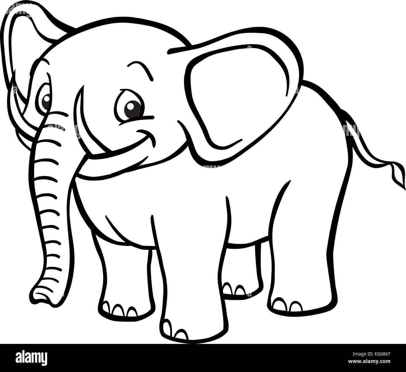 Black White Happy Cartoon Elephant Stockfotos Black White Happy