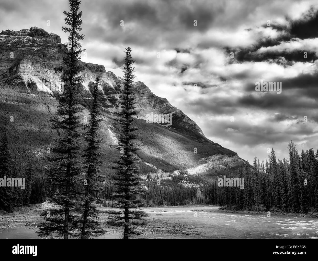 Athebasca-Fluss und die Berge. Jasper Nationalpark, Alberta, Kanada Stockbild