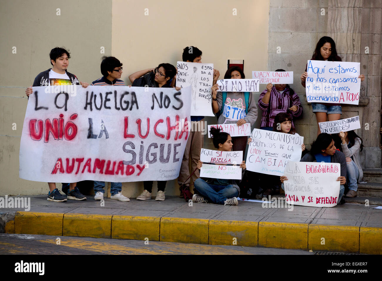 Universität Studentendemonstration, Merida, Yucatan, Mexiko Stockfoto