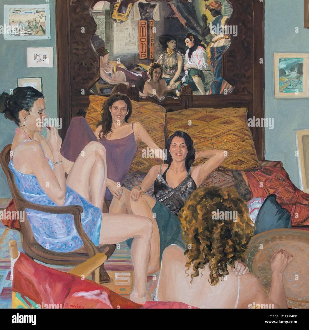 ActiveMuseum_0003949.jpg / Algier Frauen in meiner Wohnung - Öl auf Leinwand 05.01.2014 - warten / Gilles Chambon Stockbild