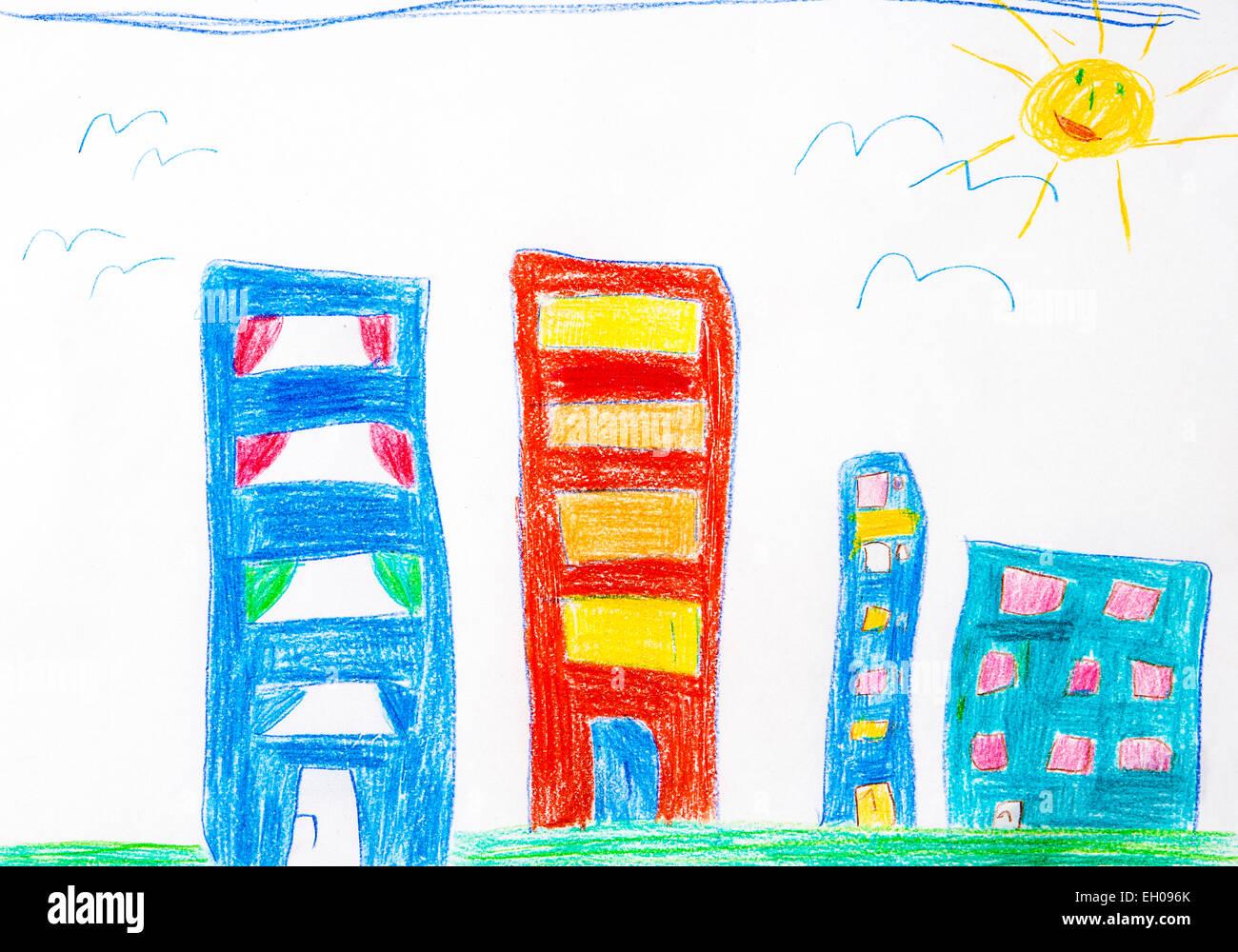 Des Kindes Zeichnung, High-Rise Gebäude und Sonne Stockbild