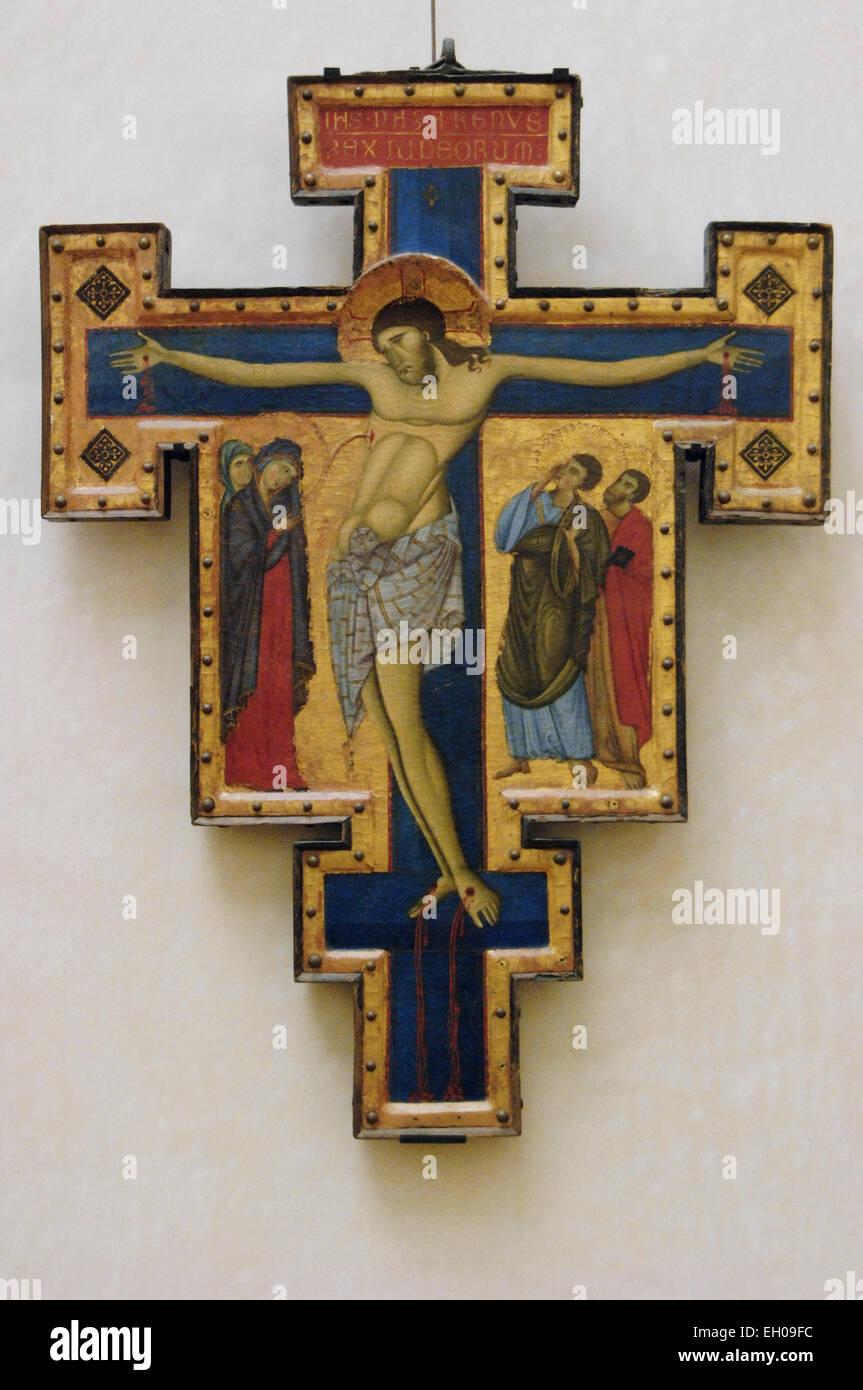 Kreuz gemalt. 1272-85. Ölgemälde auf Leinwand. Meister von San Francesco. Louvre. Paris. Frankreich. Stockbild