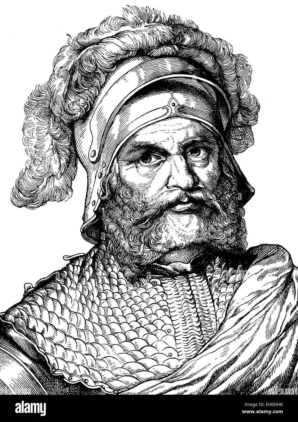 Digital verbessert Bild von Georg von Frundsberg, Landsknecht führend im Imperial Habsburg-Services, 1473-1528, Stockbild
