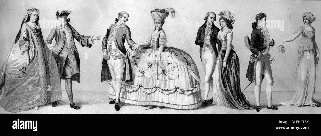 Kulturgeschichte, von links: zwei zivile Kostüme um 1740, Berliner ...