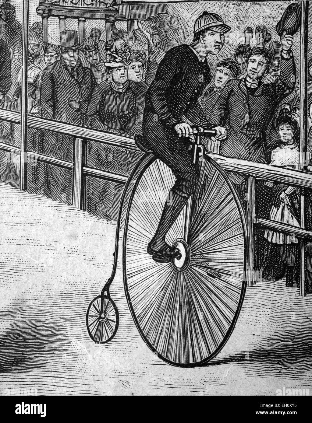 Mann reitet ein Hochrad Fahrrad, historische Abbildung, ca. 1886 Stockfoto