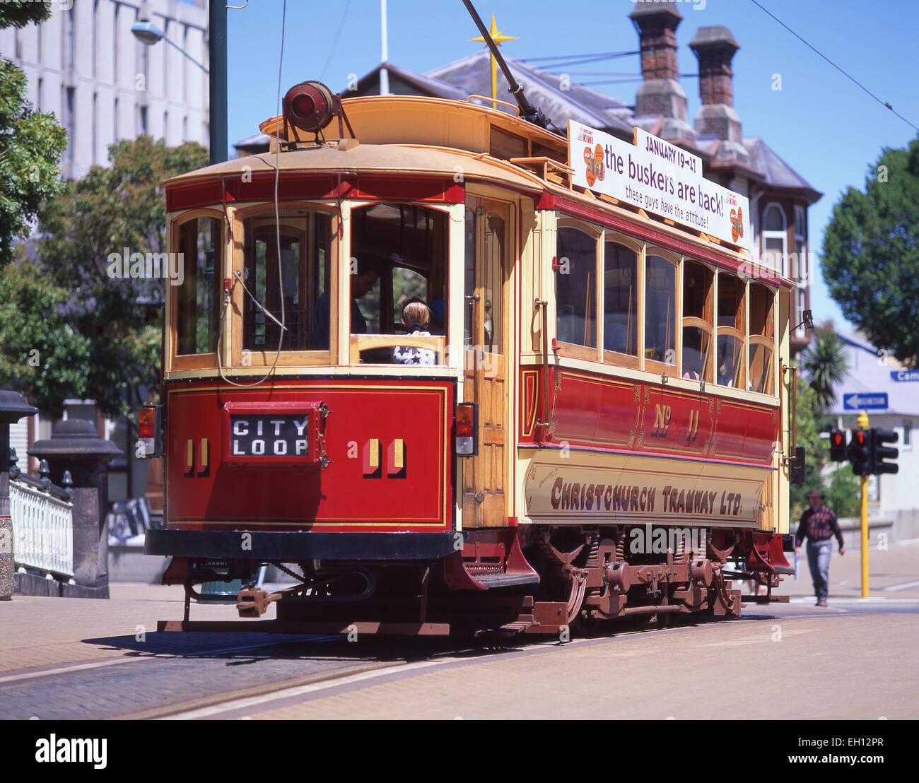 City Loop Straßenbahn, Region Worcester Boulevard, Christchurch, Canterbury, Südinsel, Neuseeland Stockbild