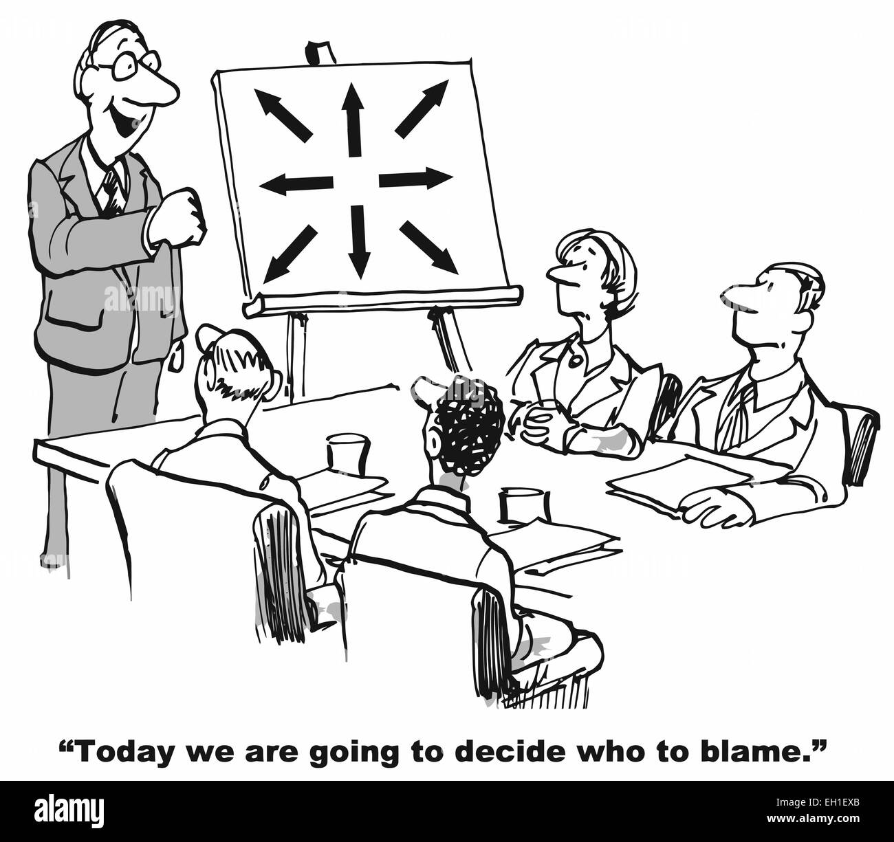 karikatur des gesch ftsf hrer sagen ein team sind wir heute zu entscheiden wer ist schuld. Black Bedroom Furniture Sets. Home Design Ideas