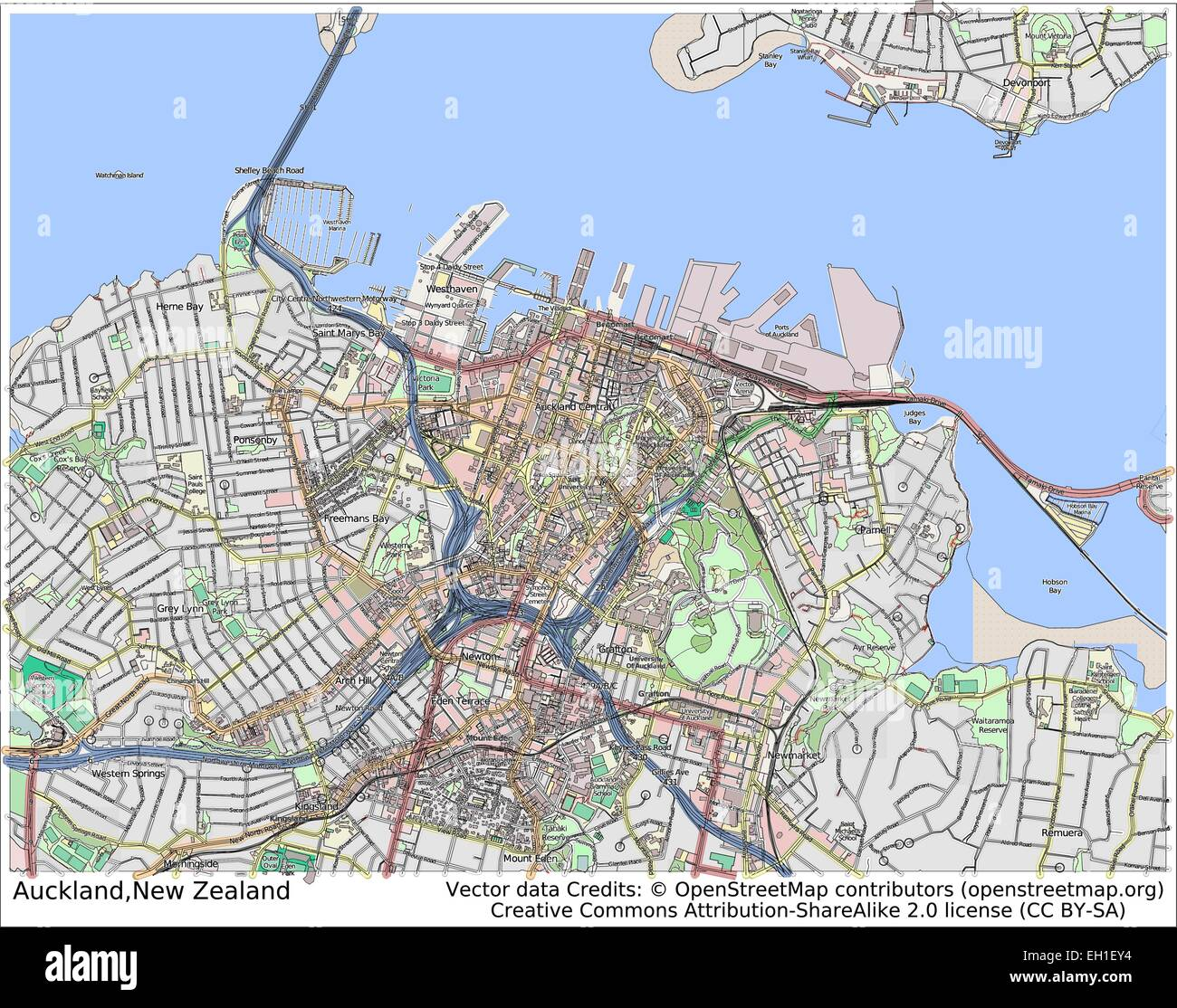 Map Of Auckland New Zealand Stockfotos & Map Of Auckland New Zealand ...