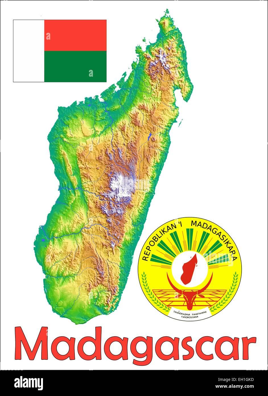 Madagaskar Karte.Madagaskar Karte Flagge Wappen Vektor Abbildung Bild