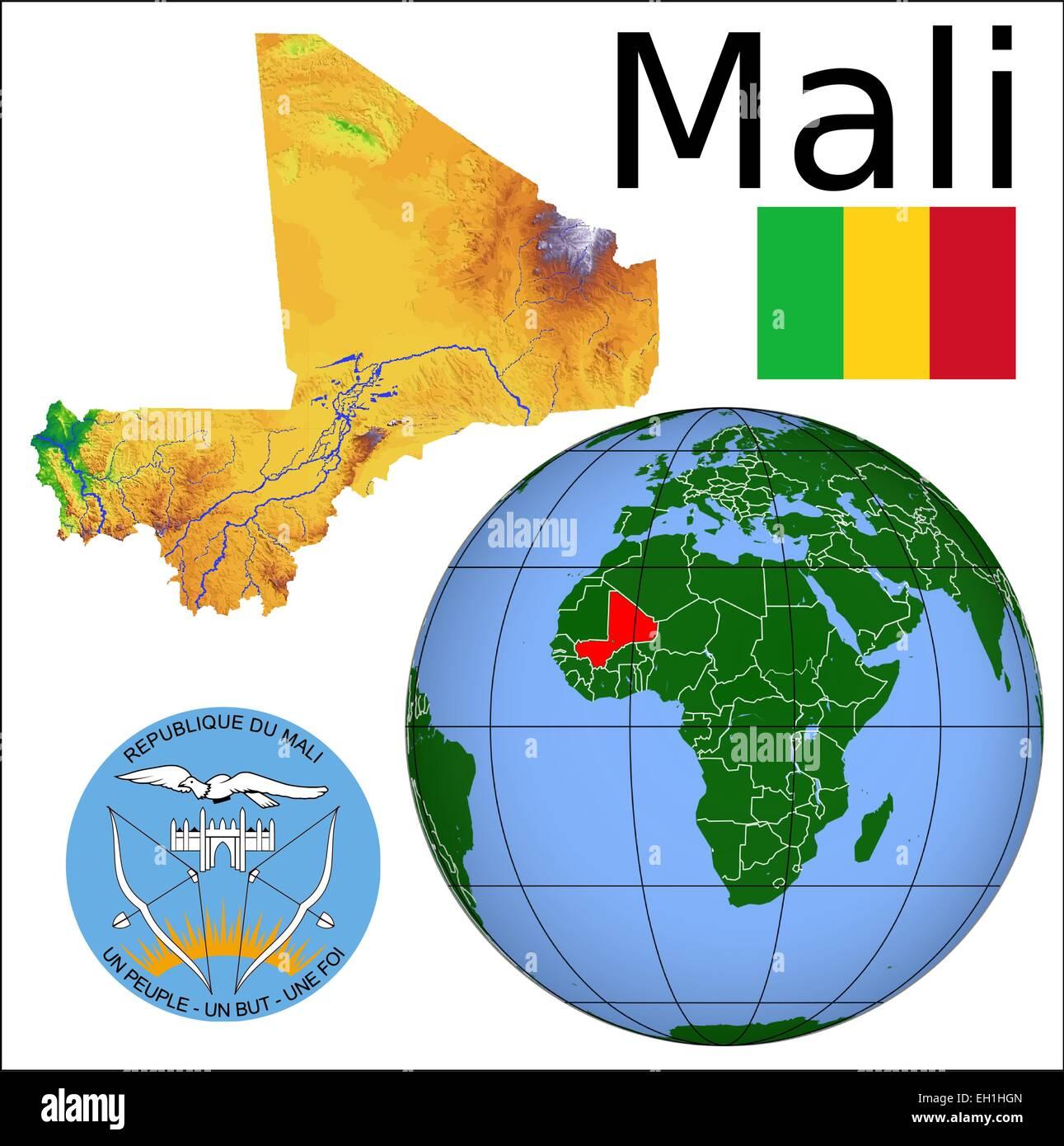 Mali Globus Lage Vektor Abbildung Bild 79326373 Alamy