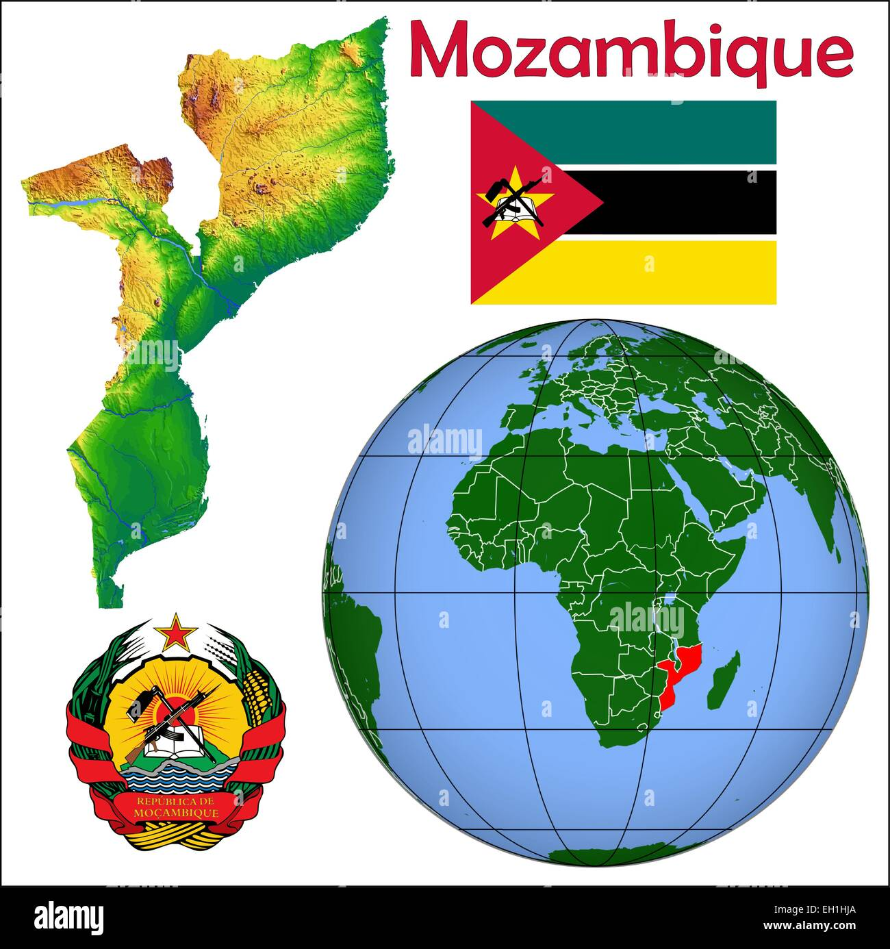 Mosambik Globus Lage Vektor Abbildung Bild 79326418 Alamy