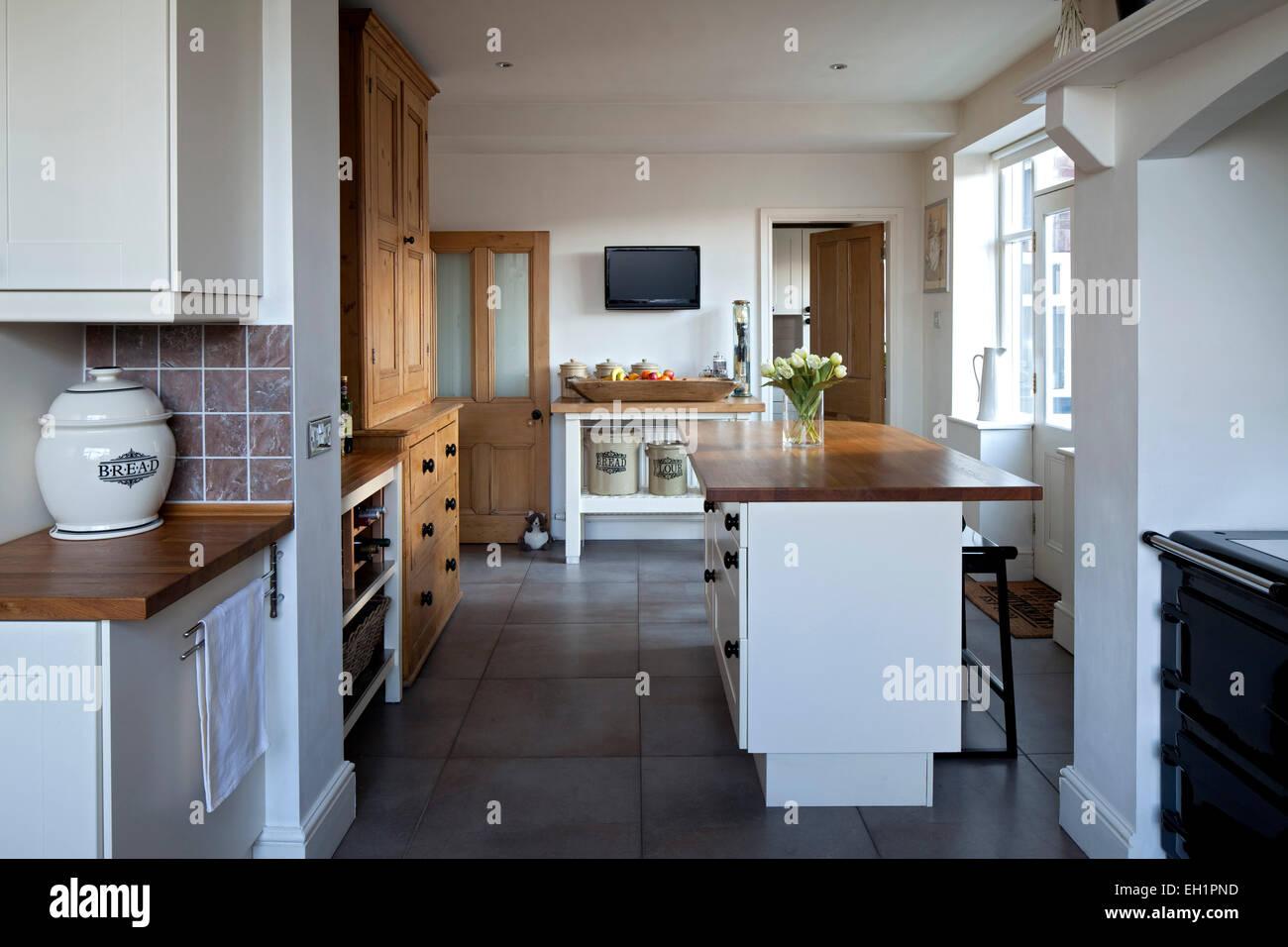 Modernen Landhausstil offene Küche in Macclesfield Stadthaus ...