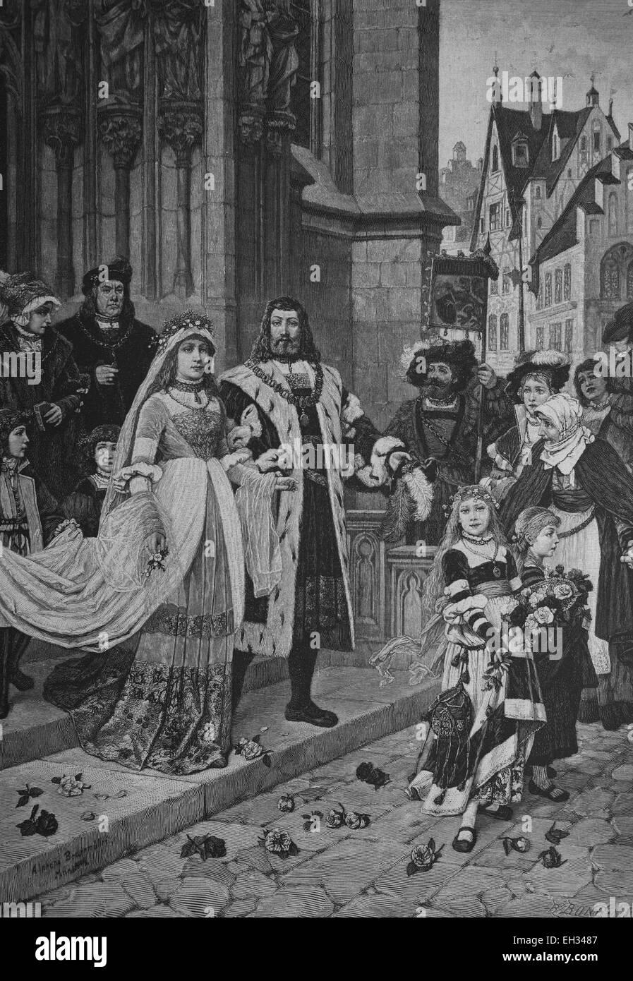 Albrecht Duerer Hochzeit, Albrecht Duerer der jüngere, 1471-1528, deutscher Maler, Grafiker, Mathematiker und Stockbild
