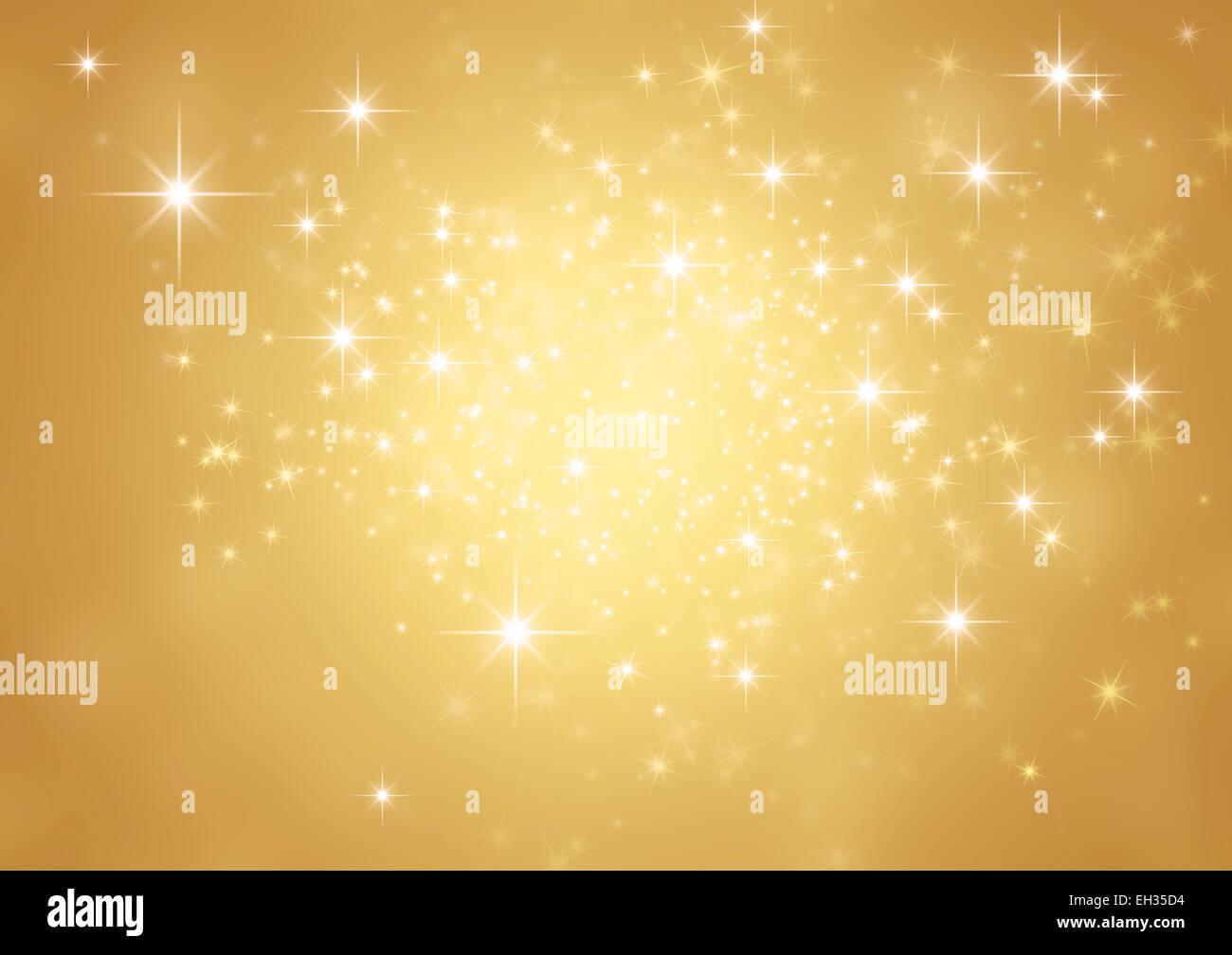 Festlicher Lichterglanz. Glänzend gold Hintergrund im Sternenlicht Stockbild