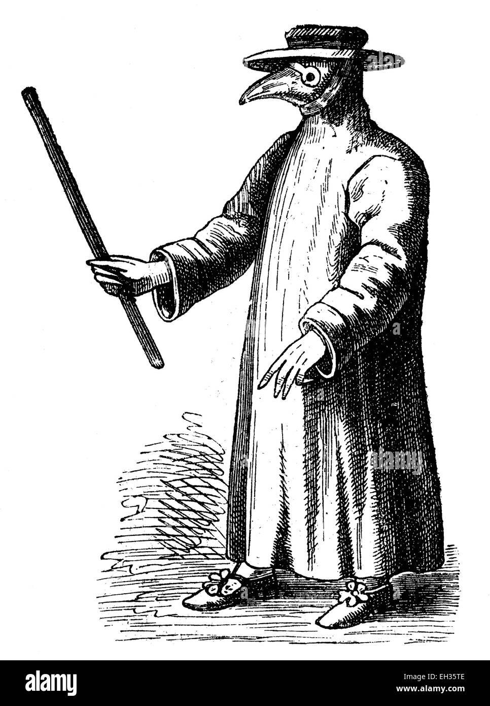17 Jahrhundert Bild Architektur: Pest-Arzt Aus 17. Jahrhundert, Holzschnitt, Historische