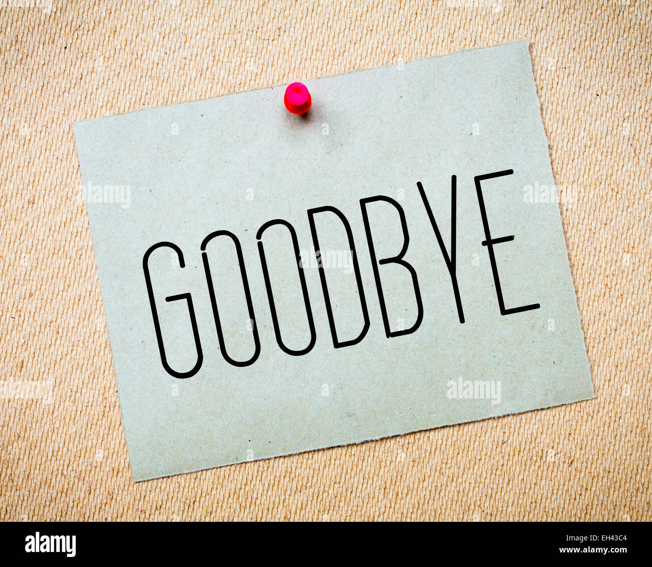 Goodbye Message On Paper Note Stockfotos & Goodbye Message On Paper ...