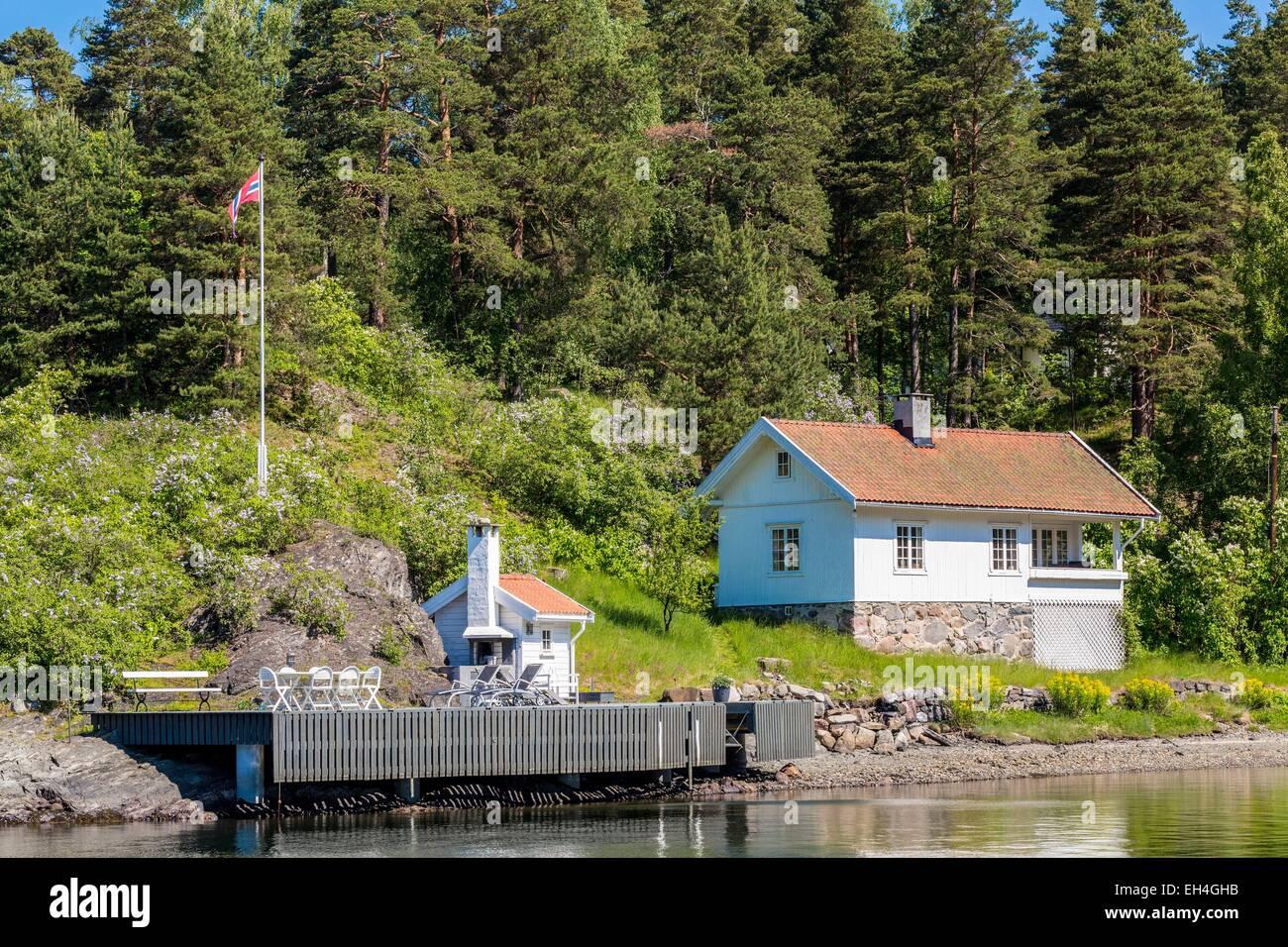 Fjord-Norwegen, Oslo, Oslofjord, Wohnung auf einer der vielen Inseln Stockbild