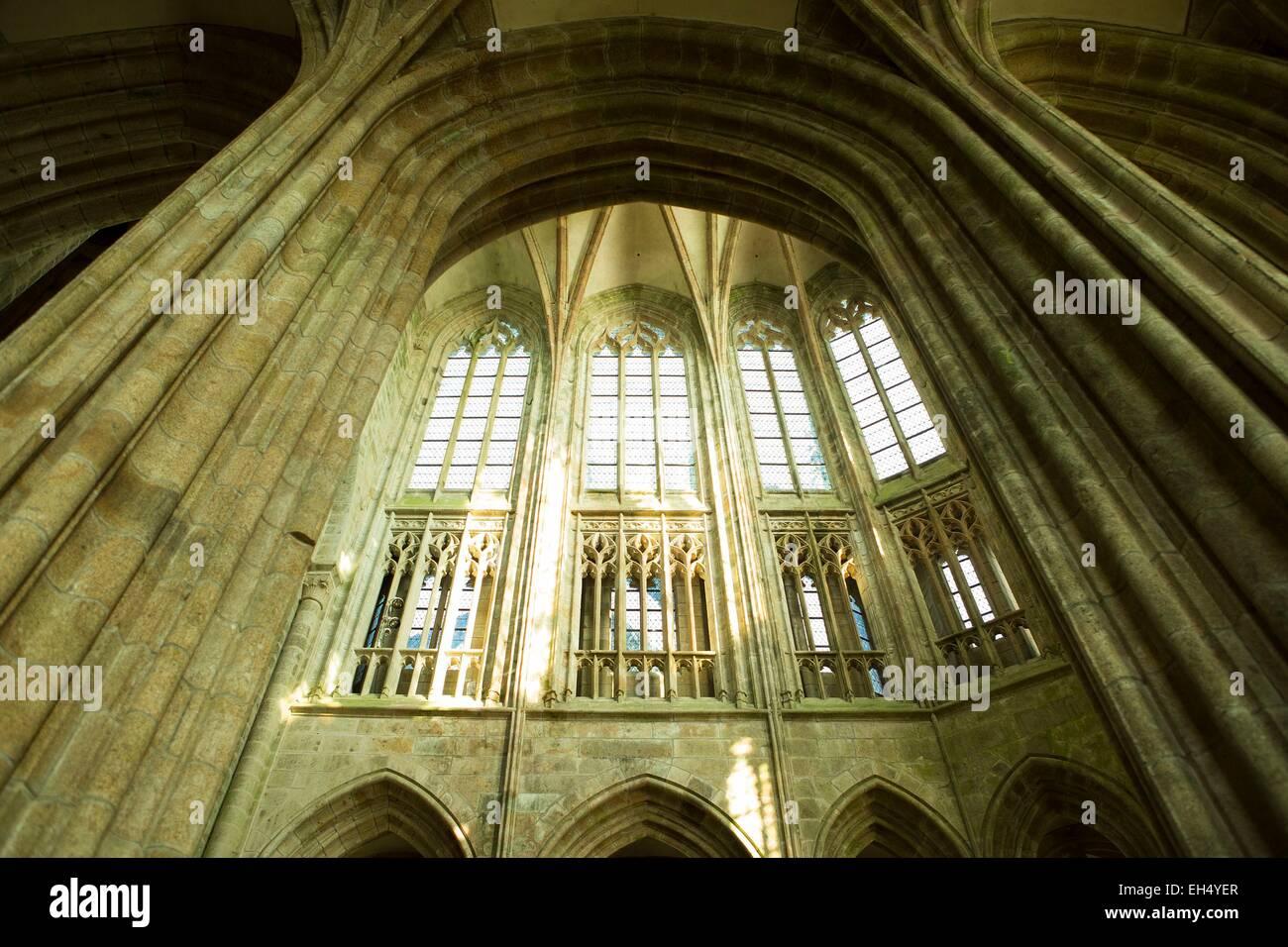 Frankreich, Manche, Bucht des Mont Saint Michel, Weltkulturerbe der UNESCO, der Mont Saint-Michel, Details der Architektur Stockbild