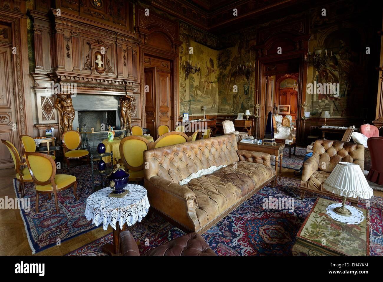 frankreich haute saone villersexel burg abgeschlossen im jahre 1890 wohnzimmer stockfoto. Black Bedroom Furniture Sets. Home Design Ideas