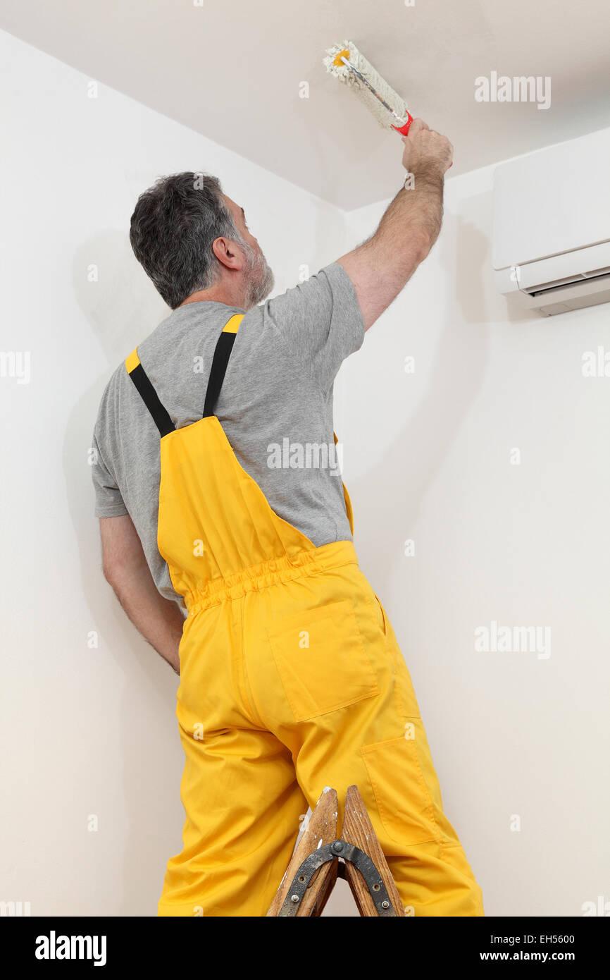 Arbeiter Malerei Decke Weiße Farbe Mit Farbroller Stockfoto Bild