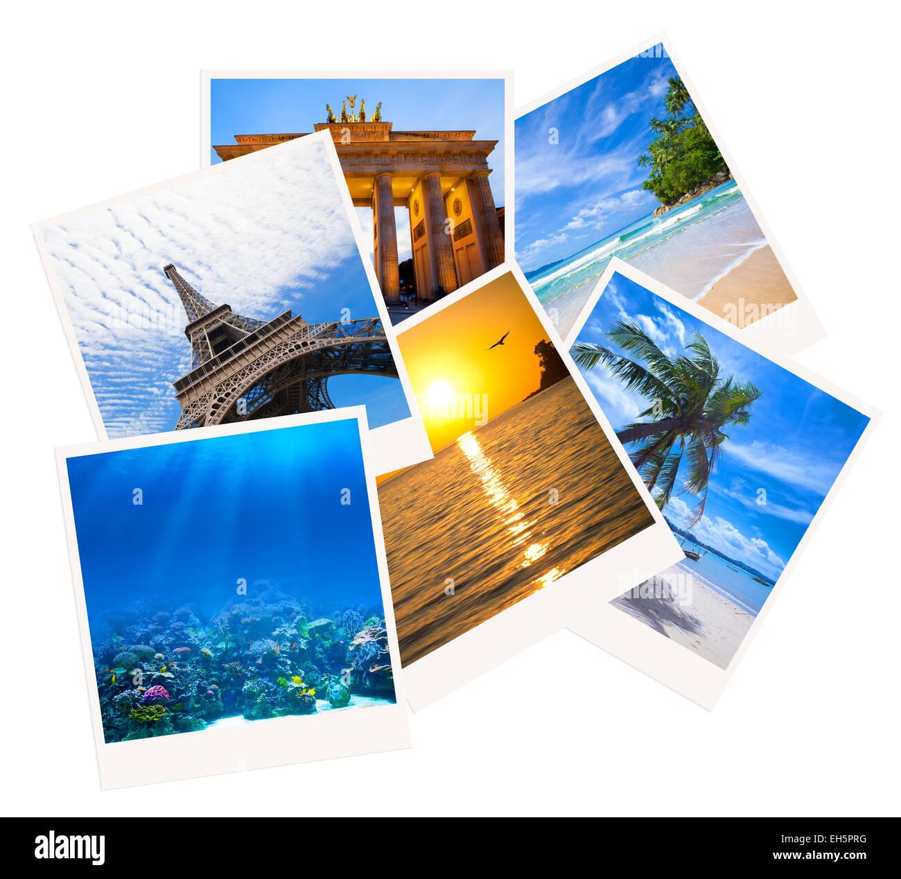 Verschiedene Reisen Foto collage isolierten auf weißen Hintergrund Stockbild