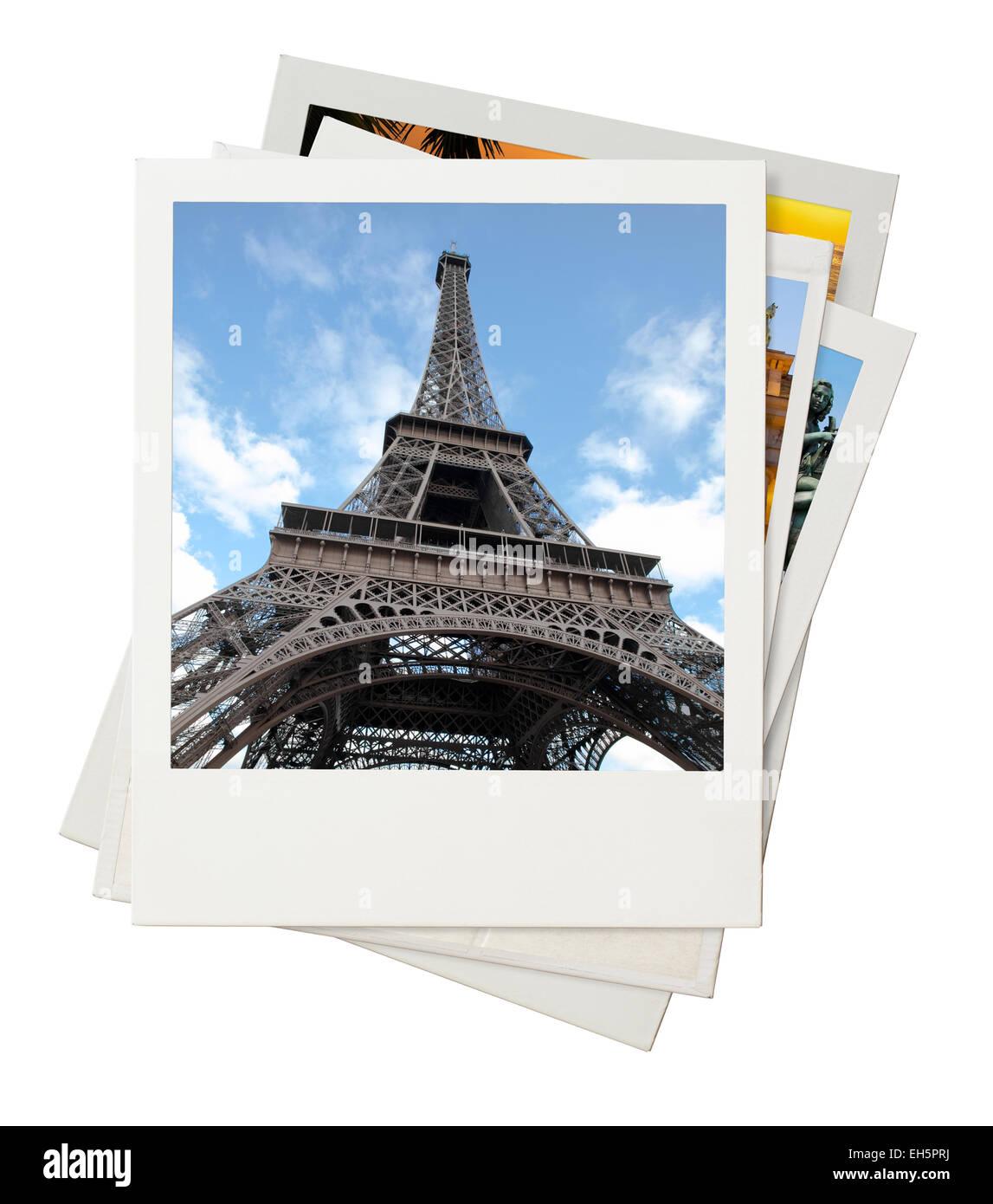 Reisen Sie, Foto-Collage, die isoliert auf weißem Hintergrund Stockbild