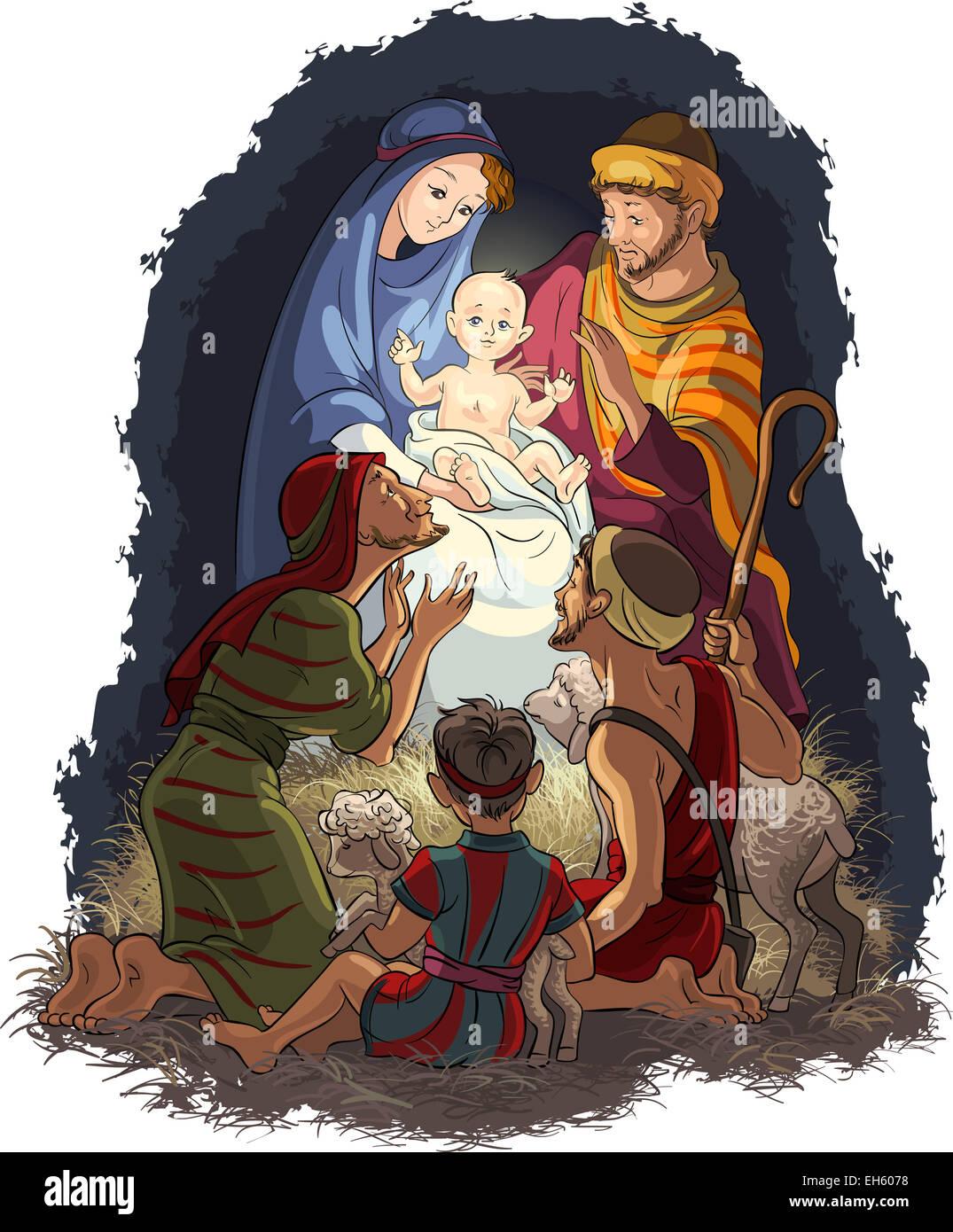 Mary und Joseph Beten Das Christkind An Stockfotos & Mary und Joseph ...