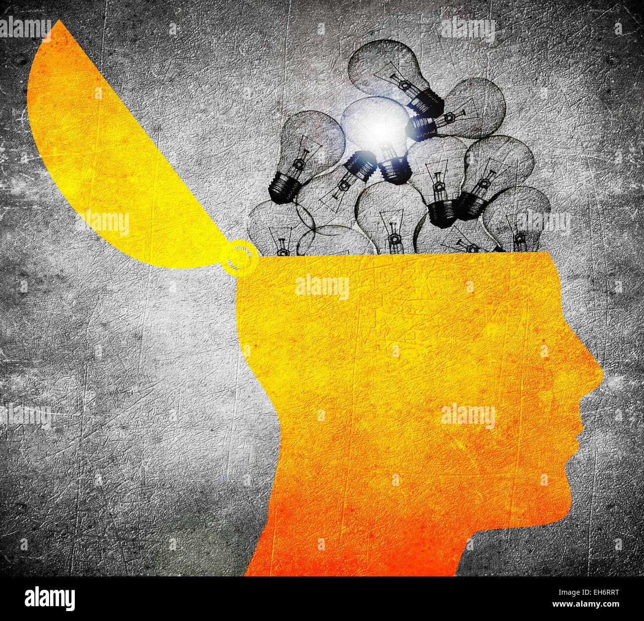 Kopf mit Glühbirnen digitale illustration Stockbild