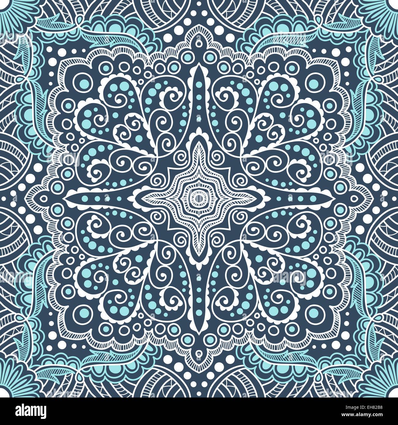 nahtlose blau Vektormuster von Spiralen, Spiralen, Ketten Stockfoto