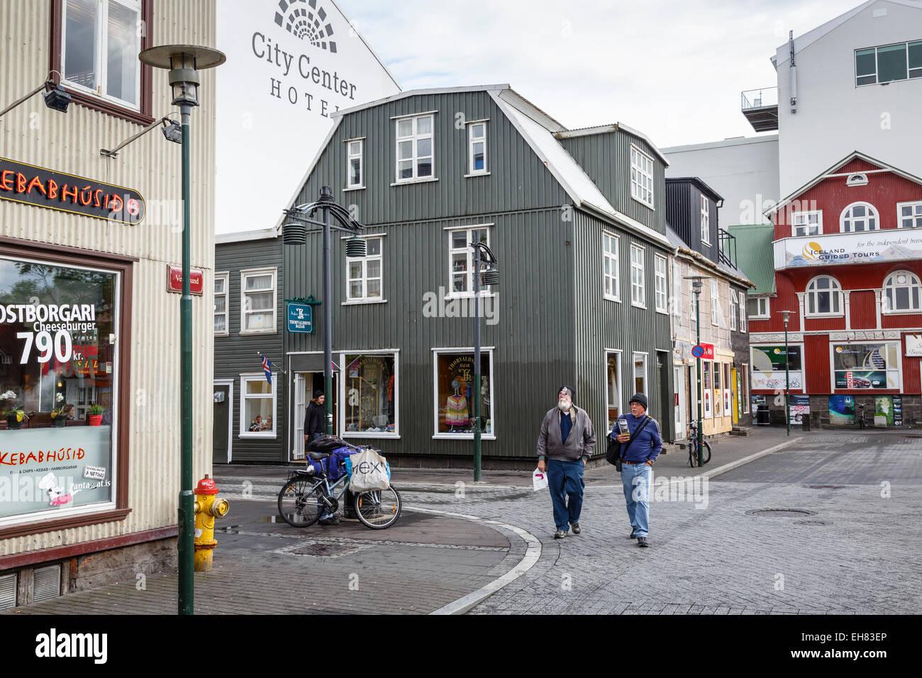 Häuser an der alten Viertel, Reykjavik, Iceland, Polarregionen Stockbild
