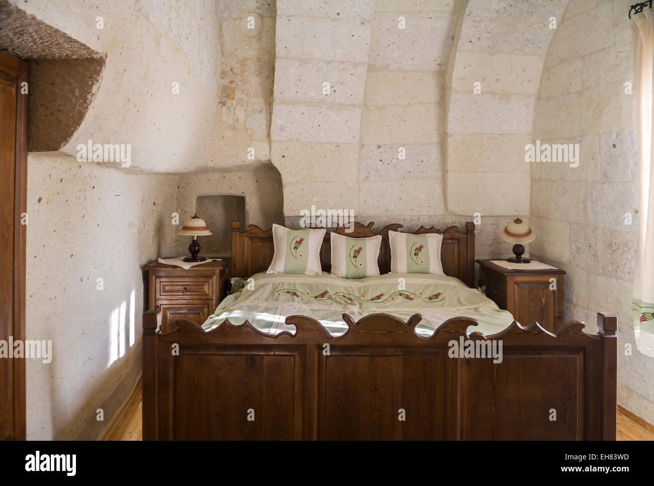 Innenraum eines troglodyte Cave Hotel Schlafzimmer, Göreme ...