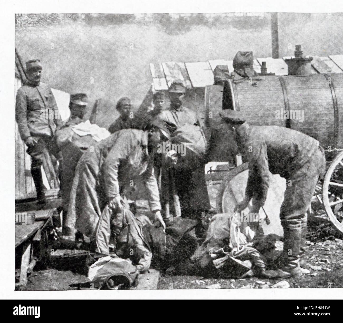 Dieses Foto zeigt portable desinfizierende Vorrichtung verwendet von den Österreichern in Lagern, vor allem Stockbild