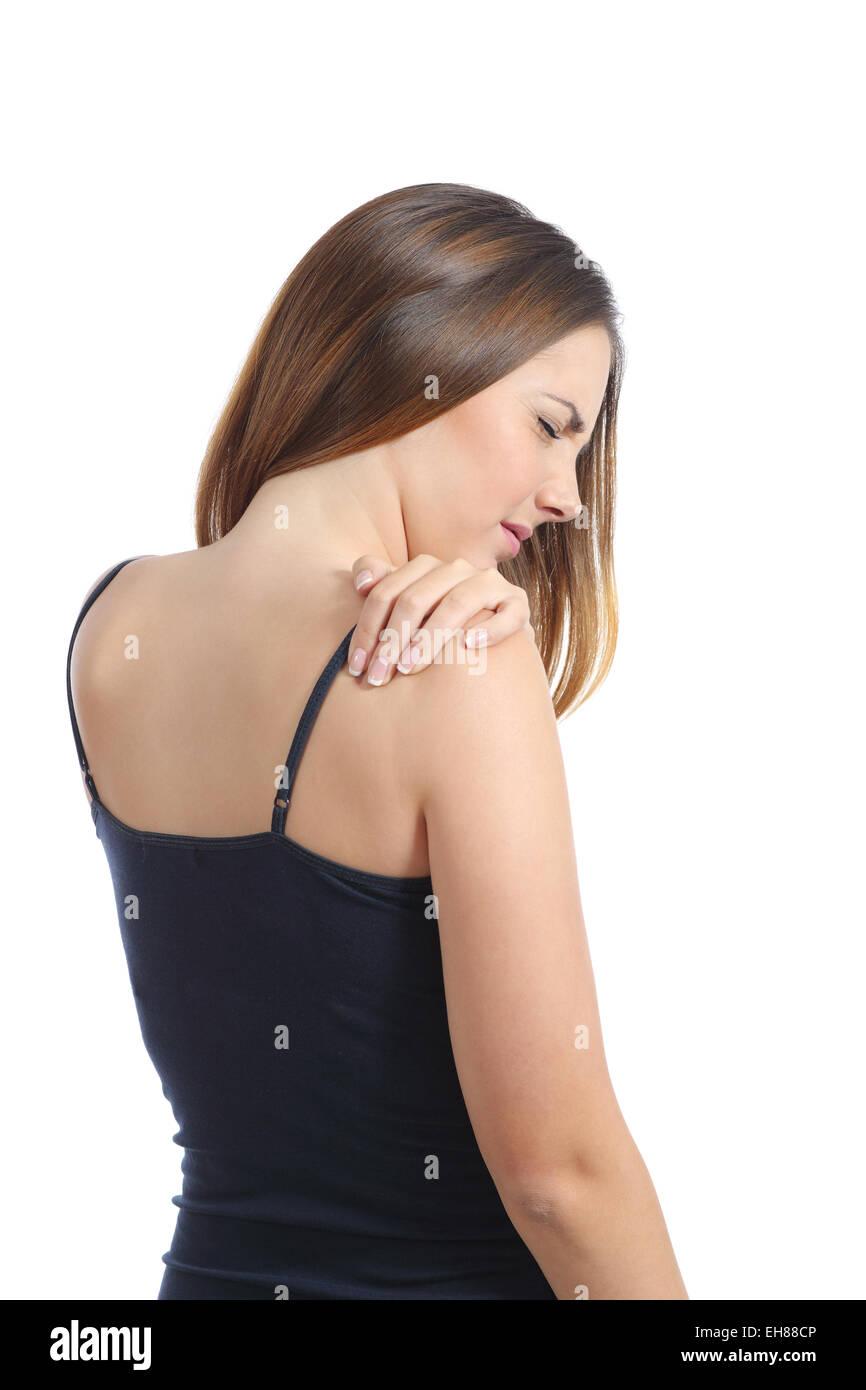 Lässige Frau leidet Schmerzen in der Schulter isoliert auf weißem Hintergrund Stockbild