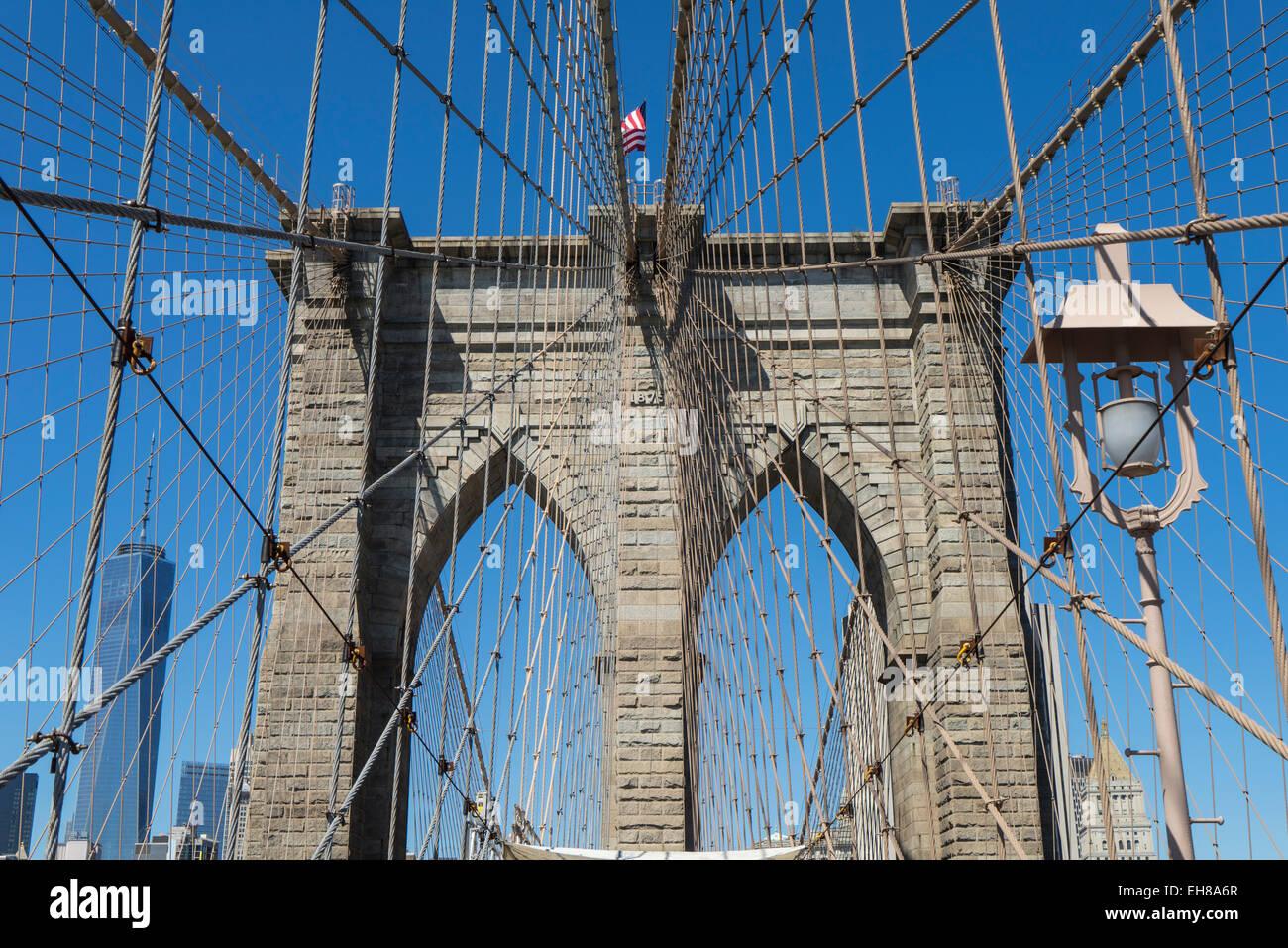 Detail der Brooklyn Bridge, Brooklyn, New York City, New York, Vereinigte Staaten von Amerika, Nordamerika Stockbild