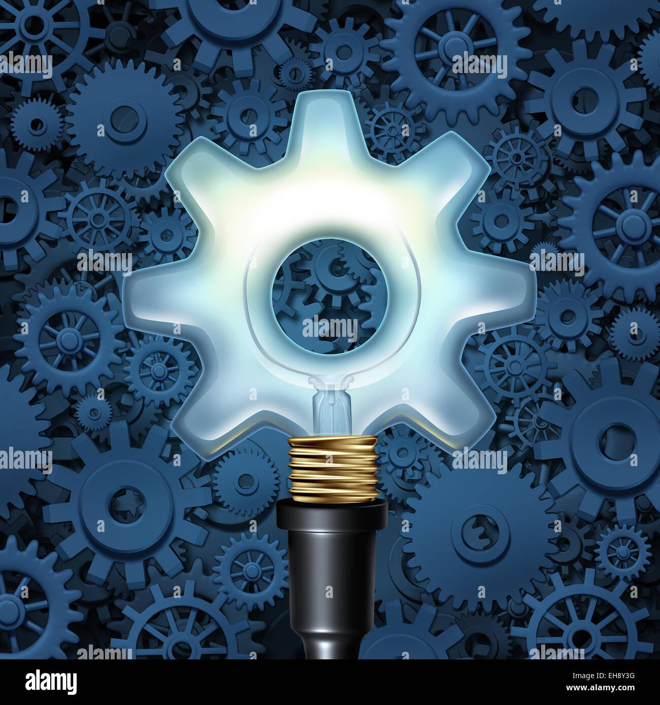 Glühbirne mit Getriebe-Business-Konzept als ein Licht geformt wie ein Zahnrad mit Maschinenteilen im Hintergrund Stockbild