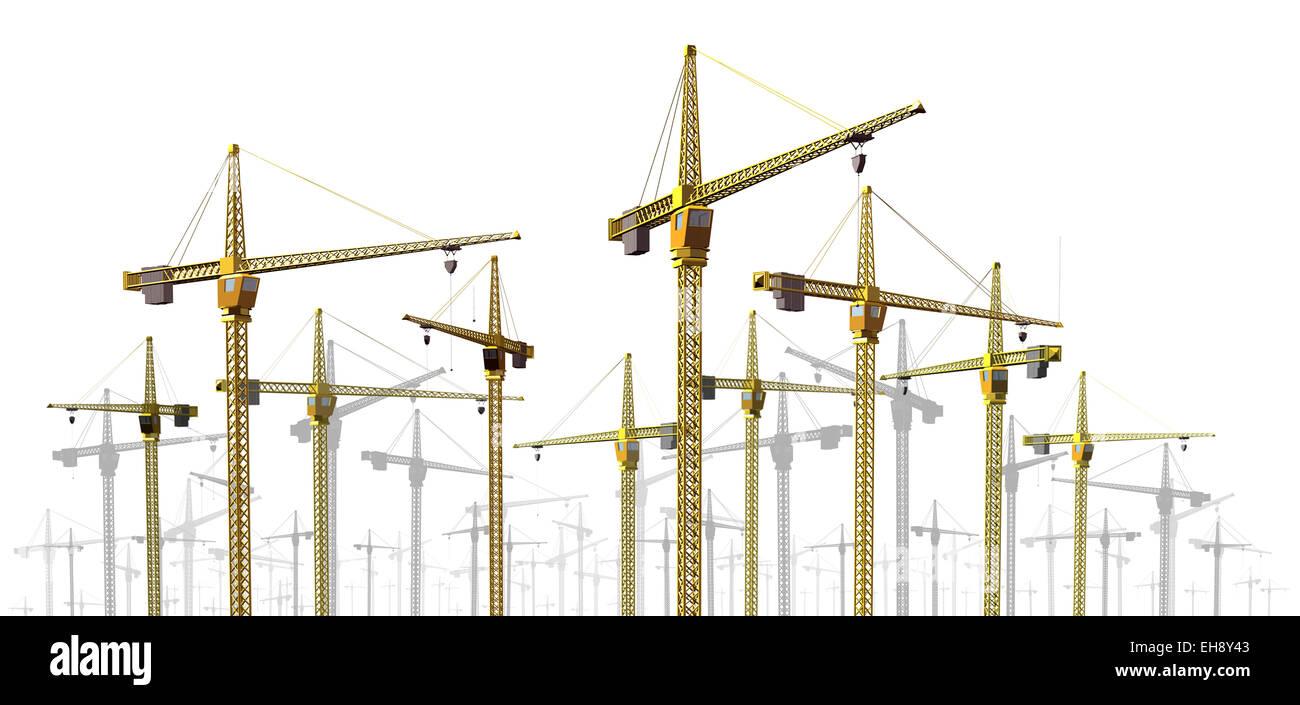 Kraniche am Bau Website Grenze Design-Element als Entwicklung und Wirtschaftswachstum Symbol mit einer Gruppe von Stockbild