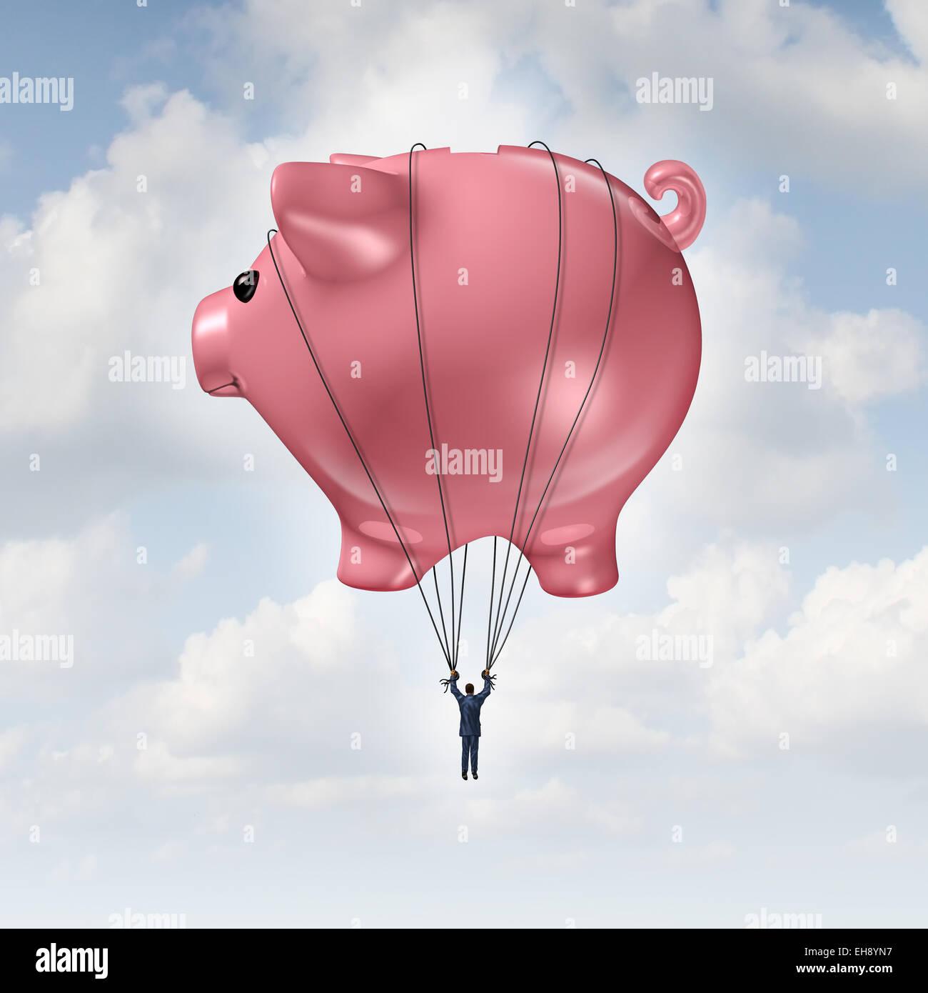 Finanzielle Freiheit-Konzept als ein Sparschwein Heißluftballon heben einen Geschäftsmann bis zu Erfolg Stockbild