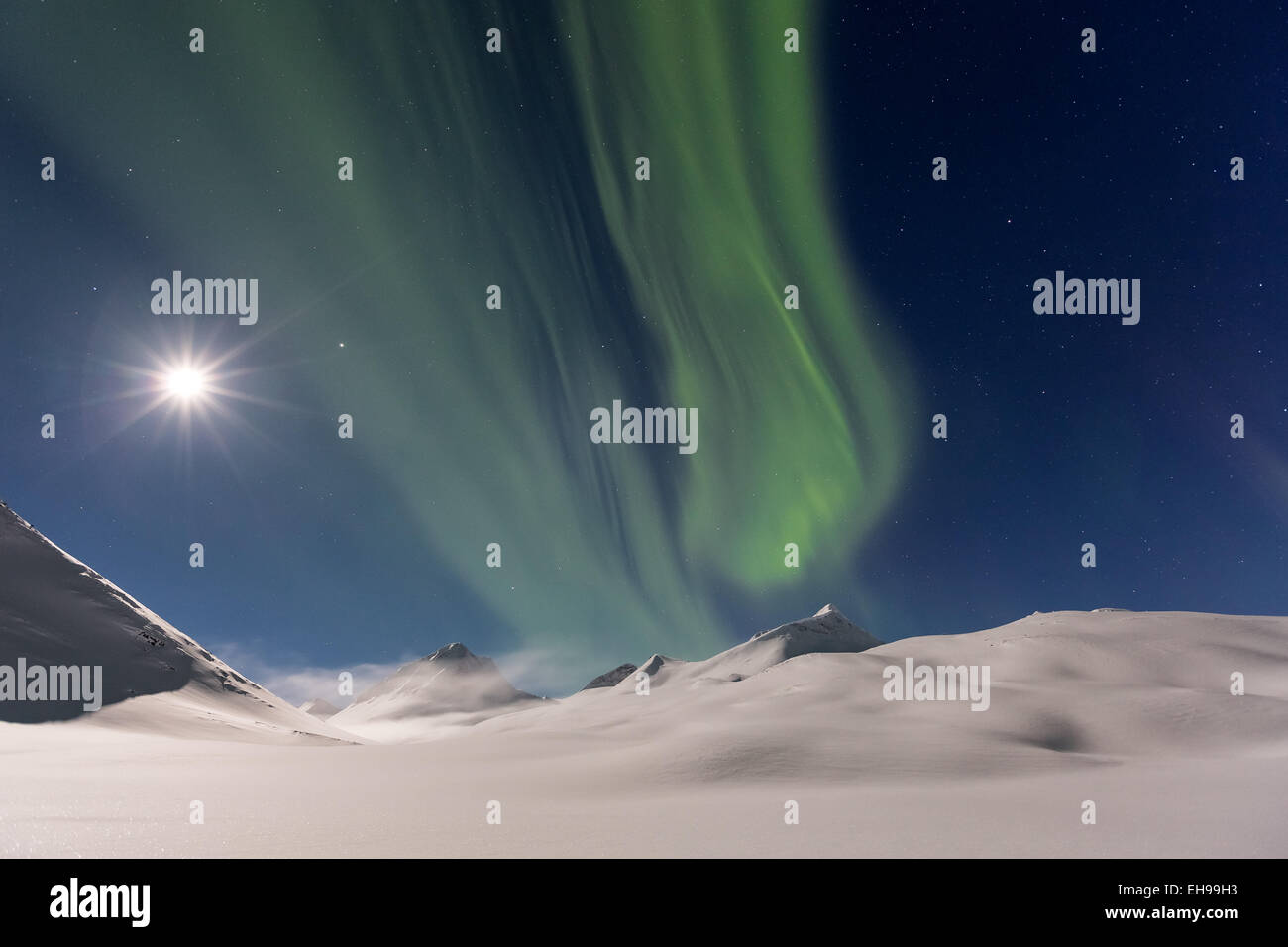Das Nordlicht gesehen bei Nallostugan, Kiruna, Schweden, Europa, EU Stockbild