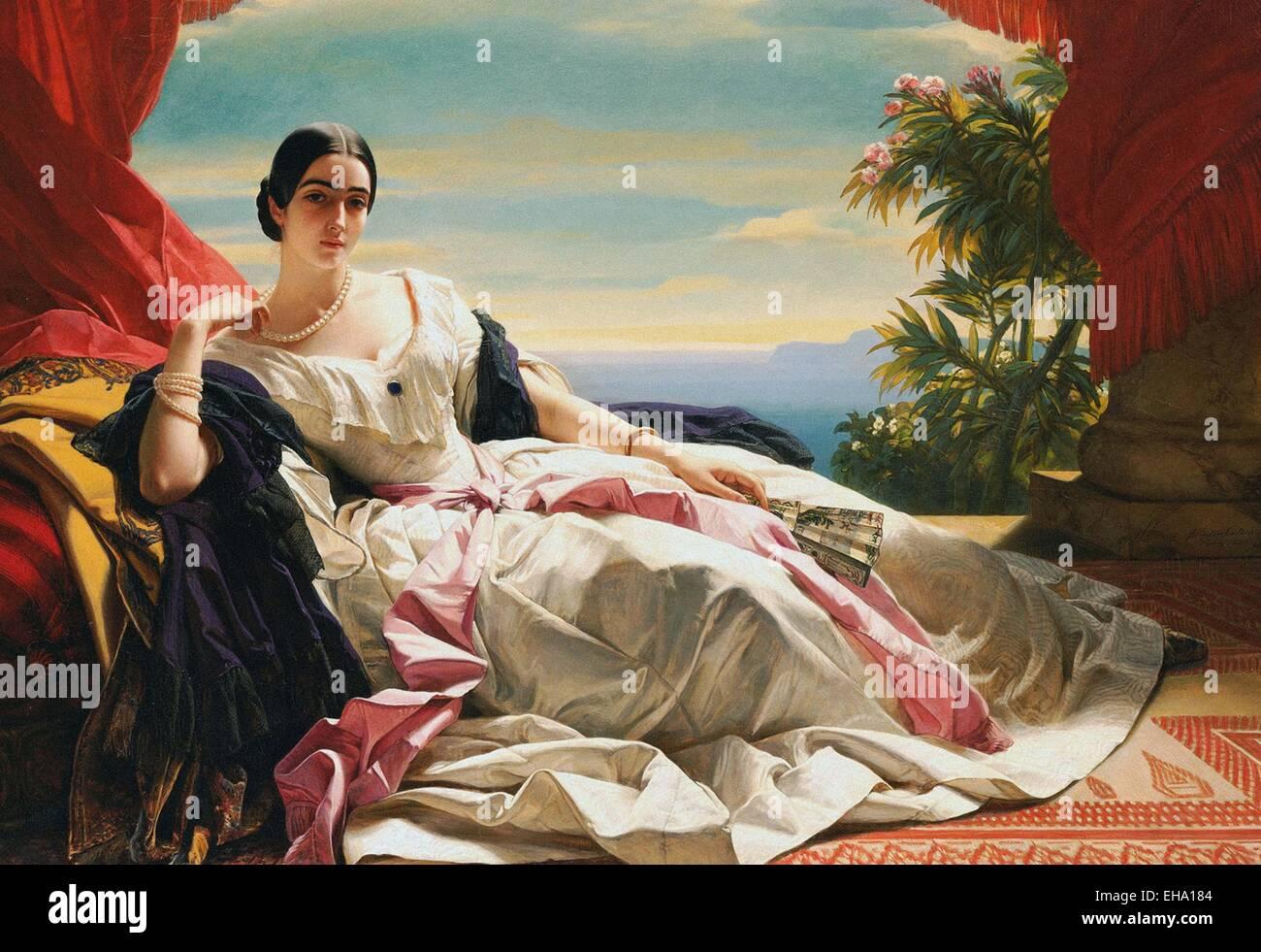 Franz Xaver Winterhalter Porträt von Leonilla, Prinzessin von Sayn-Wittgenstein-Sayn Stockbild