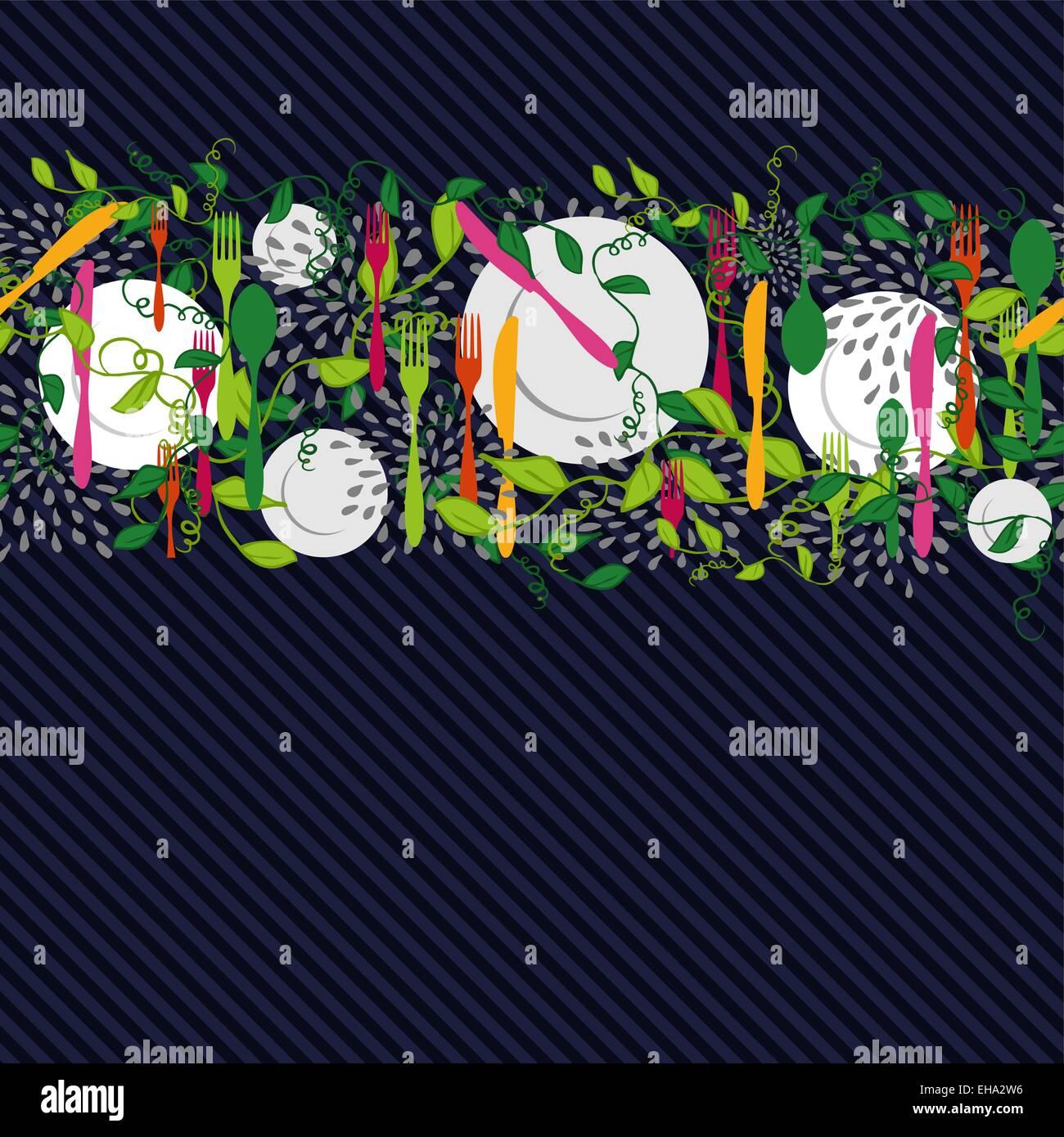 Besteck, Teller und Speisen Designelemente Küche Musterdesign ...