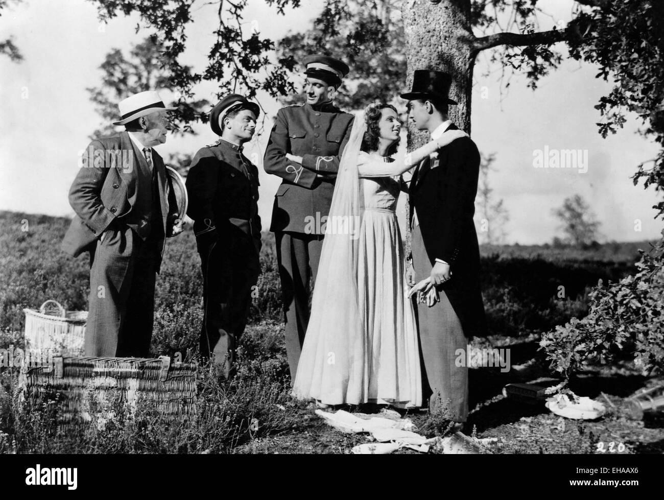 """Hochzeit-Szene am Set des französischen Films """"Voyage Überraschung"""", 1947 Stockbild"""