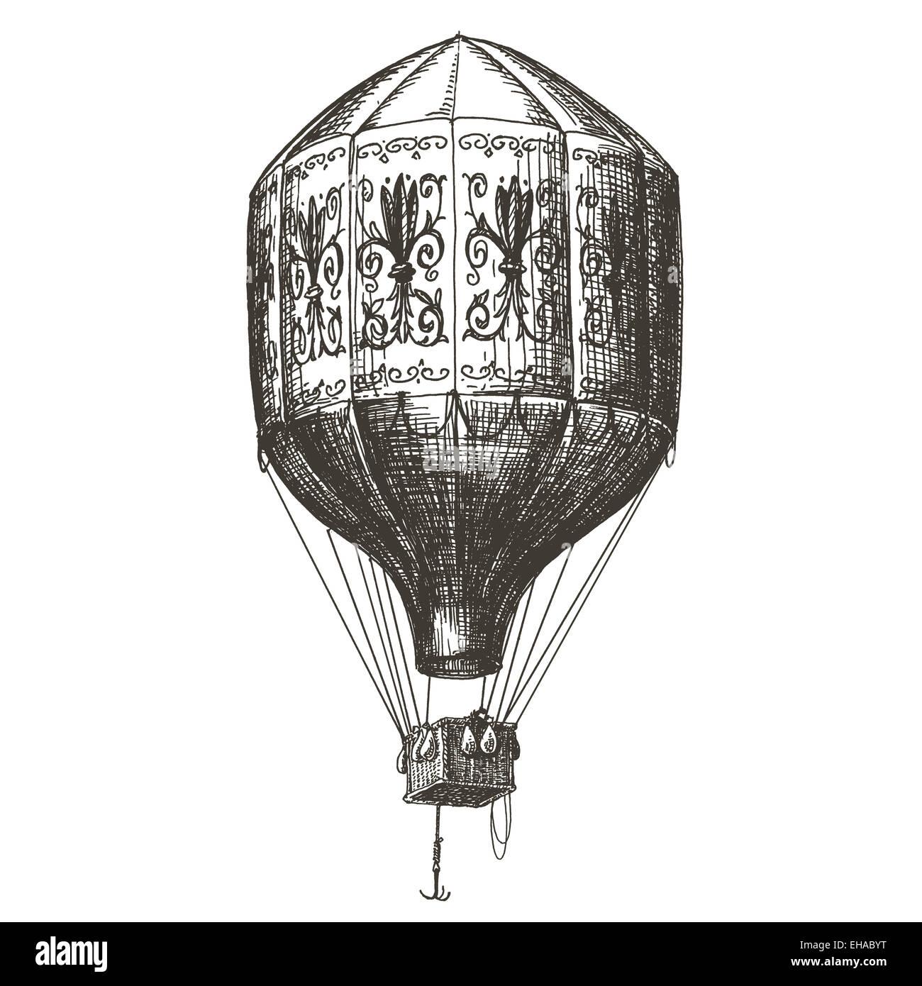 Heißluft-Ballon Vektor-Logo Design-Vorlage. Retro-Aerostat oder ...