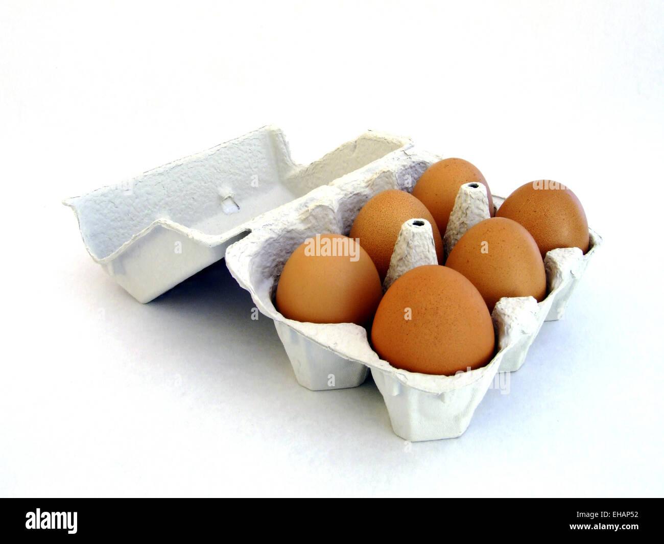 Sechs Eier / sechs Eiern Stockbild
