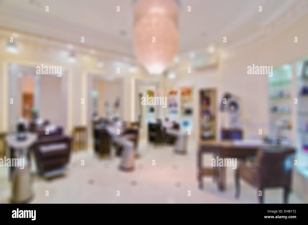 Modernen Beauty-Salon Hintergrund weichzeichnen Stockfoto, Bild ...